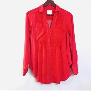 Maeve by Anthropologie Red Polka Dot Top